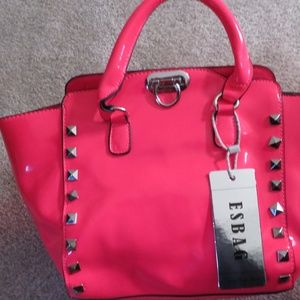 ESBAG- GLOSSY HOT PINK STUDDED HANDBAG